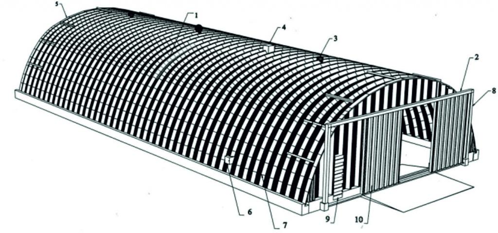 Бескаркасный арочный ангар